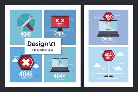 six designs of error page not found vector illustration design