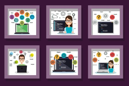 bundle designs of programming computer with people and icons vector illustration design