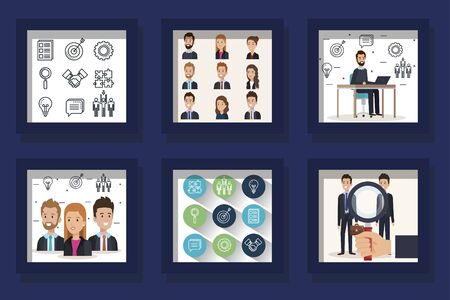 bundle of scenes business people and icons vector illustration design