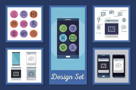 Designs Set von Smartphone- und Social-Media-Icons Vector Illustration Design