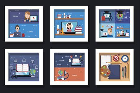 bundel van ontwerpen van onderwijs online met het ontwerp van de pictogrammen vectorillustratie Vector Illustratie