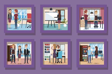 bundle of elegant business people and workplaces vector illustration design