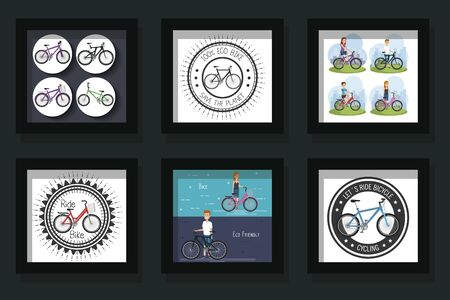 bundle of scenes young people and bikes vector illustration design Illustration