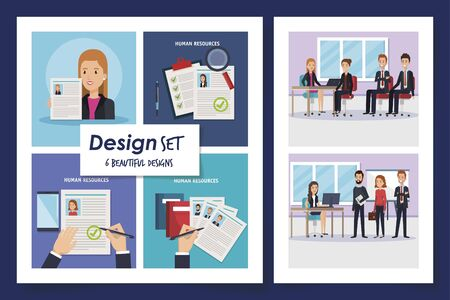 six designs of scenes resources human with icons vector illustration design  イラスト・ベクター素材