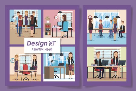 six designs of elegant business people in the workplaces vector illustration design
