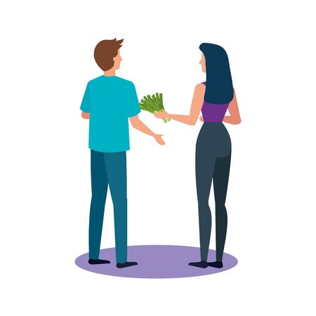 buyer woman and man design, shop store market shopping commerce retail buy and paying theme Vector illustration