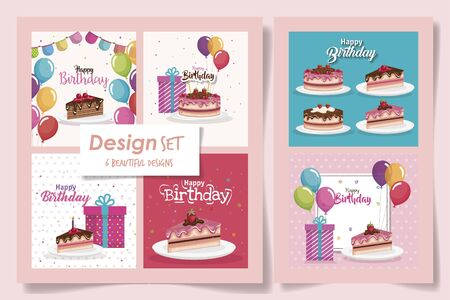 six designs of cards happy birthday with delicious food and decoration vector illustration design