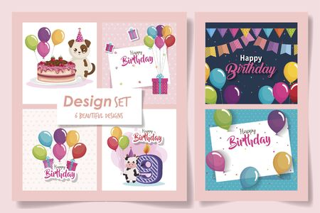 six designs of cards happy birthday and decoration vector illustration design Illustration