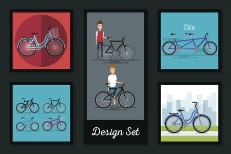 designs set of young people and bikes vector illustration design Ilustrace