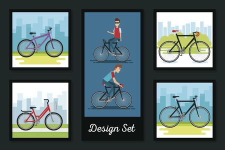 designs set of young people and bikes vector illustration design Illustration