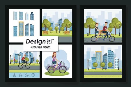six designs of healthy lifestyle scenes and young people vector illustration design Illustration