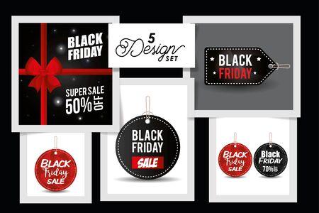 Cinco diseños de etiquetas de viernes negro, diseño de ilustraciones vectoriales