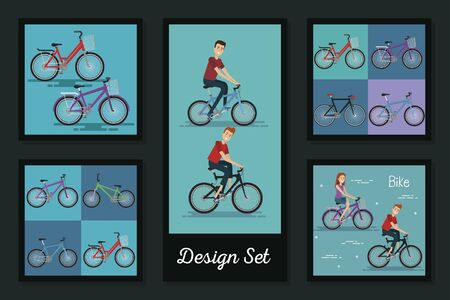 designs set of young people and bikes vector illustration design Stock Vector - 137688700