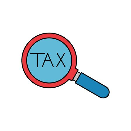 Tax lupe of financial accoounting form revenue finance government income taxation refound and paying theme Vector illustration
