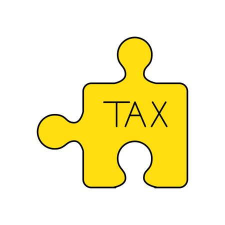 Tax puzzle of financial accoounting form revenue finance government income taxation refound and paying theme Vector illustration