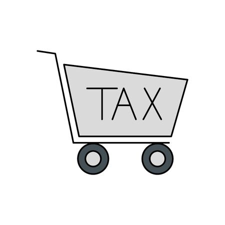 Tax cart of financial accoounting form revenue finance government income taxation refound and paying theme Vector illustration