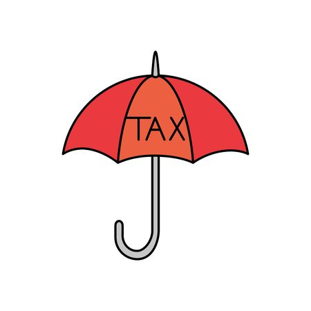 Tax umbrella of financial accoounting form revenue finance government income taxation refound and paying theme Vector illustration  イラスト・ベクター素材