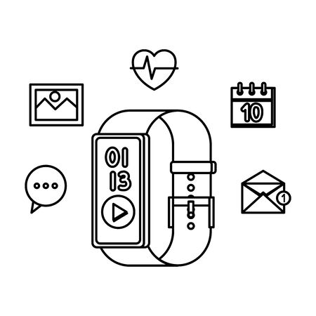 smartwatch with media player button and applications set vector illustration design Çizim