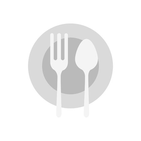 Plate fork and spoon design, Eat food restaurant menu dinner lunch cooking and meal theme Vector illustration