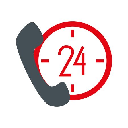 Phone and 24 hours design, Call telephone communication hotel office public dial connection and technology theme Vector illustration