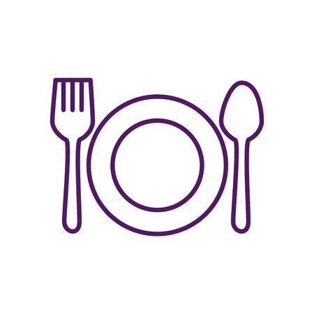 Diseño de tenedor y cuchara de placa, menú de restaurante de comida, cena, almuerzo, cocina y tema de comida, ilustración vectorial