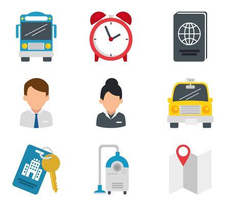 Diseño de conjunto de iconos de hotel de servicio de viajes sala de recepción alojamiento en resort vestíbulo de motel y tema de vacaciones ilustración vectorial Ilustración de vector
