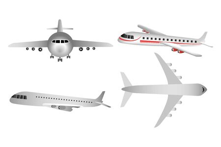 set of airplanes flying icons vector illustration design