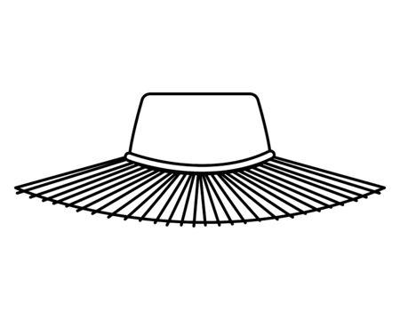 summer straw hat accessory icon vector illustration design