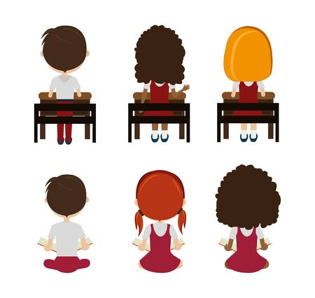 group of little students sitting characters vector illustration design