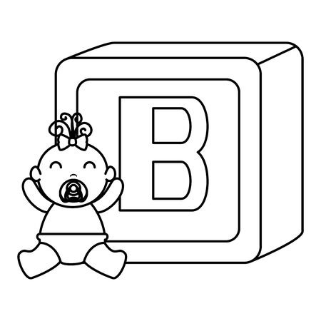 alphabet block toy with baby girl vector illustration design Ilustração