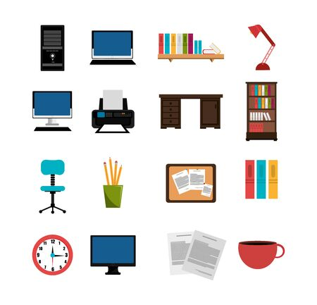 set of equipments office icons vector illustration design
