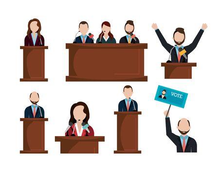 podium voting candidates set icons vector illustration design