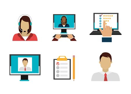 set icons of call center vector illustration design