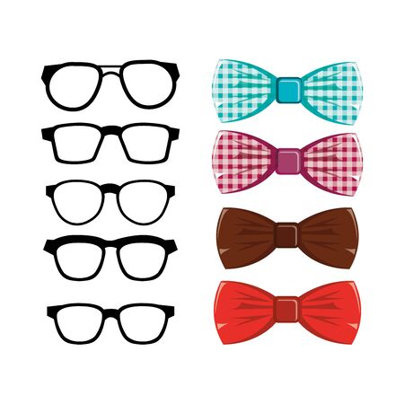set of bowties and eyeglasses icons vector illustration design
