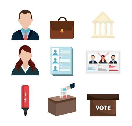 vote democracy of set icons vector illustration design