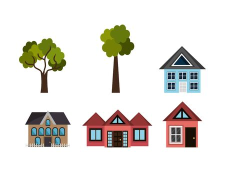 bundle of houses and tree plants vector illustration design
