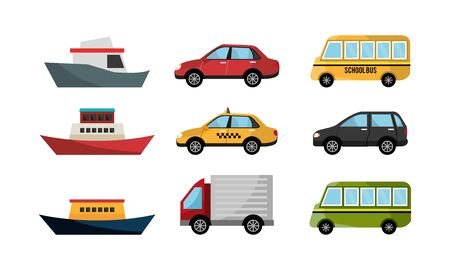 bundle of boats and cars icons vector illustration design