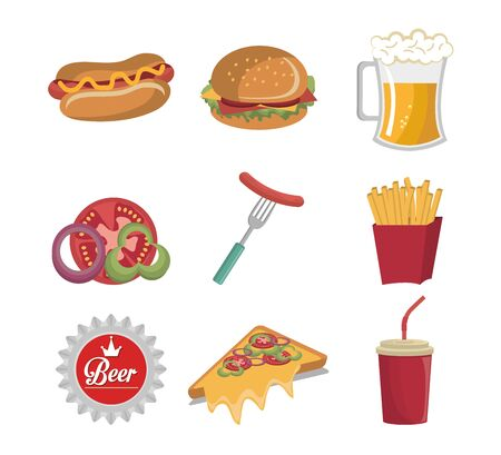 bundle of fast food icons vector illustration design