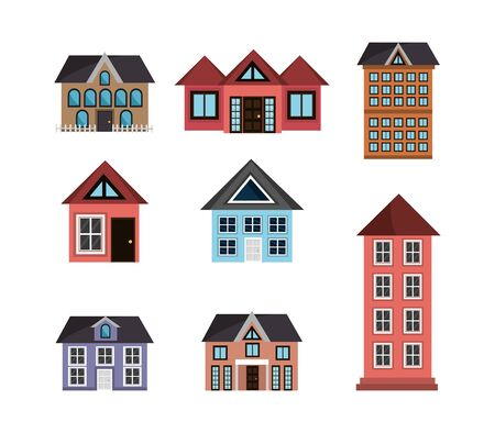 bundle of buildings and houses vector illustration design