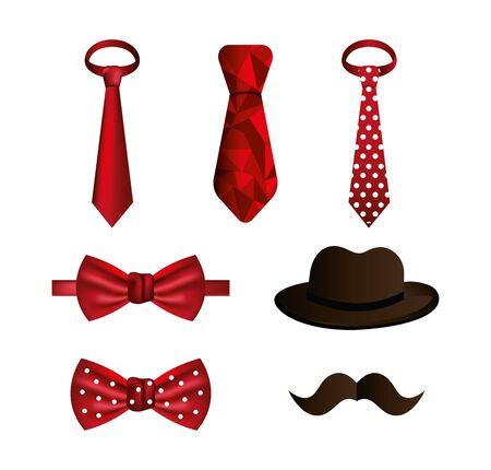 set of neckties and accessories masculine vector illustration design