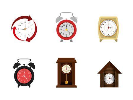 bundle of clocks different icons vector illustration design Ilustração