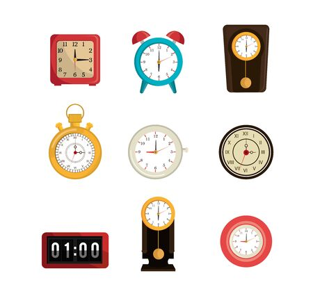 bundle of clocks different icons vector illustration design Imagens - 137728266