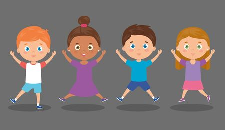 group of cute little kids vector illustration design 向量圖像