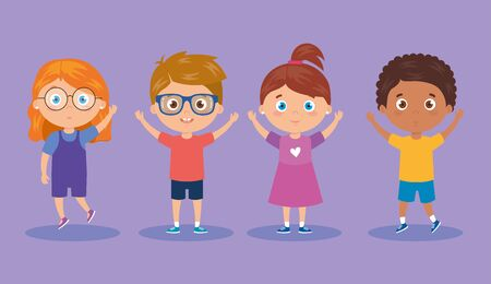 group of cute little kids vector illustration design  イラスト・ベクター素材