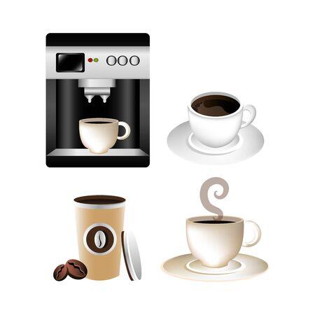 set di deliziose icone di caffè illustrazione vettoriale design
