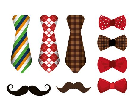set of neckties and accessories masculine vector illustration design