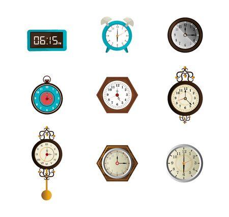 bundle of clocks different icons vector illustration design Imagens - 137728363
