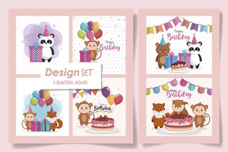 six designs of cards happy birthday with cute animals vector illustration design