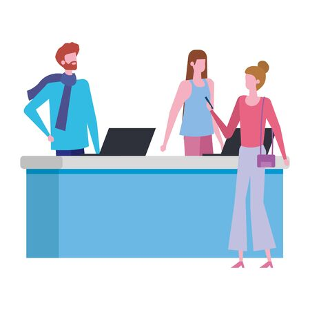 couple working in desk with computers and woman customer vector illustration