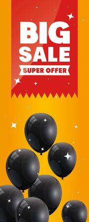 Cartel cartel de viernes negro con gran oferta diseño de ilustración de vector de letras